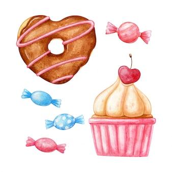 Donut de acuarela en forma de corazón, cupcake con cereza en forma de corazón y dulces pequeños en rosa y azul.