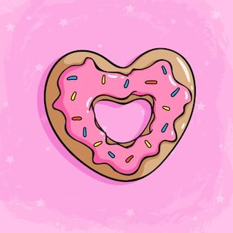 Donut de amor con crema de fresa para cubrir donut lindo con estilo de dibujo coloreado