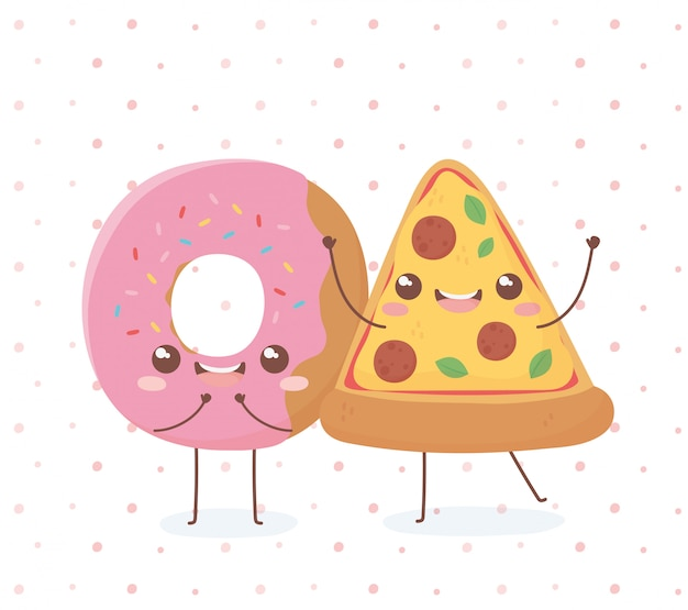 Donut and pizza kawaii food diseño de personajes de dibujos animados