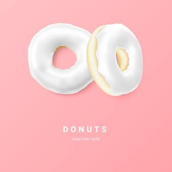 Donut blanco aislado sobre fondo claro. donuts de chocolate de colores. varias donas glaseadas. ilustración vectorial.