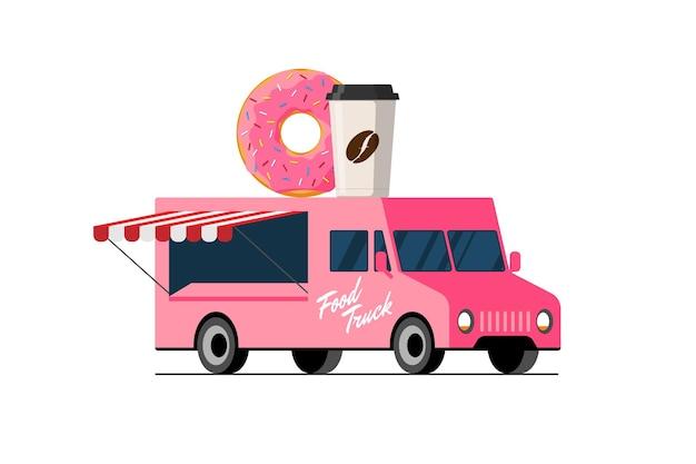 Donut de camión rosa de comida rápida y taza de papel de café en un donut de techo de furgoneta con entrega de automóvil de bebida caliente