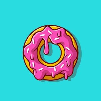 Donut derretido ilustración de icono de dibujos animados.