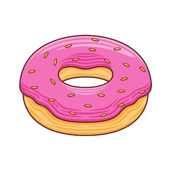 Donut de dibujos animados para ilustración de cafetería o restaurante