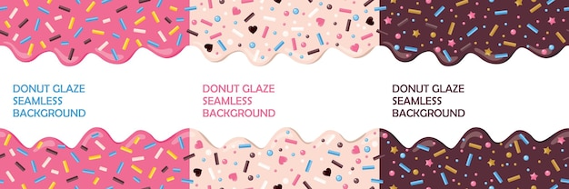 Donut glaseado con chispitas conjunto de perfecta. colores rosa, chocolate, beige.