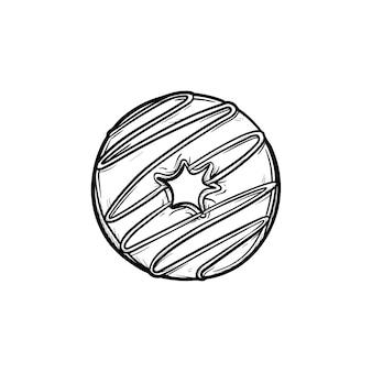 Donut icono de doodle de contorno dibujado a mano. ilustración de dibujo vectorial de donut glaseado para impresión, web, móvil e infografía aislado sobre fondo blanco.