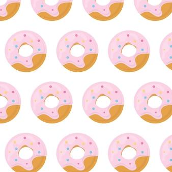 Donut de patrones sin fisuras patrón con un donut en esmalte