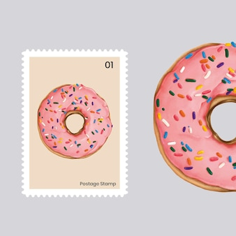 Donut rosa lindo en un sello postal