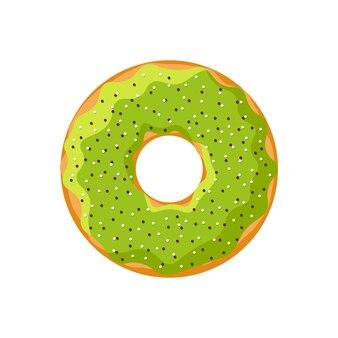 Donut sabroso lindo aislado sobre fondo blanco. vista superior de la panadería de donas esmaltadas verde para la decoración de la cafetería de la torta o el diseño del menú. ilustración vectorial eps