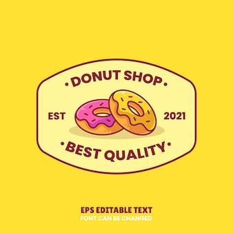 Donut shop logo vector icono ilustración en estilo plano logo donut aislado premium para cafetería
