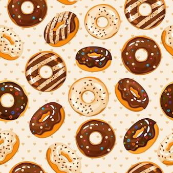 Donuts de chocolate en polvo glaseado y azúcar de patrones sin fisuras con sabroso postre