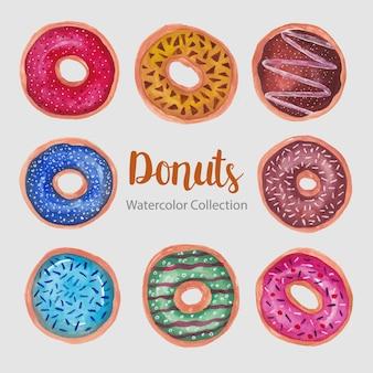 Donuts colección de acuarela