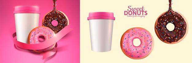 Donuts dulces y pancarta de café para llevar en estilo 3d