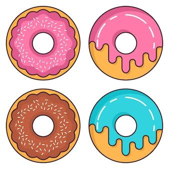 Donuts glaseado de fresa y chocolate.