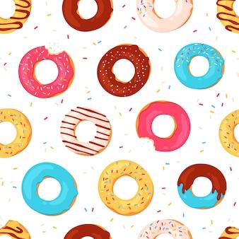 Donuts de patrones sin fisuras. donas glaseadas con estampado de verano dulce. donut mordido con glaseado rosa y chispitas. textura de vector de postre de panadería. patrón de ilustración espolvorear textura, confitería de rosquilla