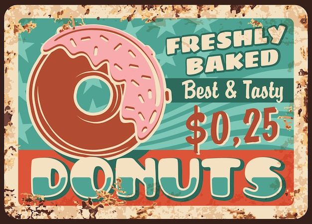 Donuts placa de metal oxidado