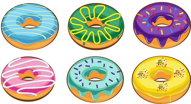 Donuts realistas con cobertura de chocolate, aislado, colorido, nuez, dulce, azúcar, glaseado, derretido