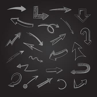 Doodle abstracto flechas de tiza en la pizarra