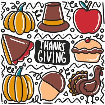 Doodle de acción de gracias dibujado a mano con iconos y elementos de diseño