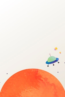 Doodle de acuarela de espacio colorido con un ovni