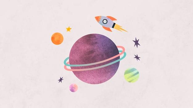 Doodle de acuarela de galaxia colorida con un cohete