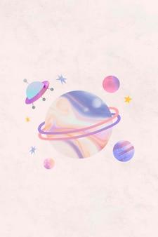 Doodle de acuarela de galaxia colorida con un ovni