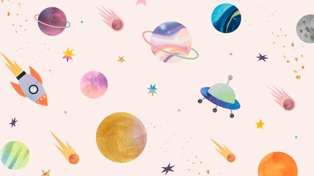 Doodle de acuarela de galaxia colorida sobre fondo pastel