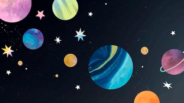 Doodle acuarela galaxia colorida