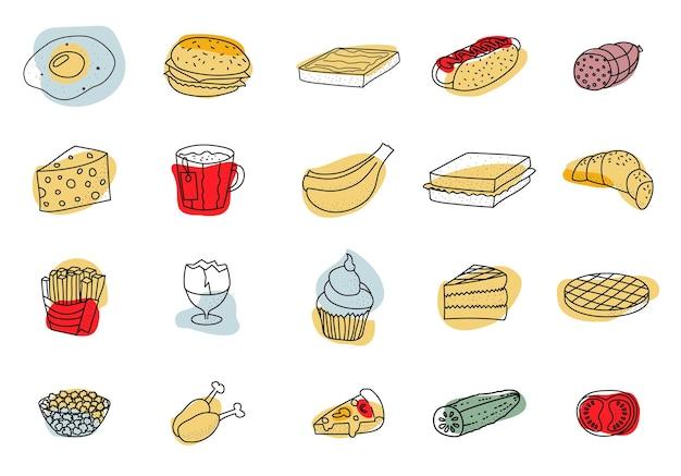 Doodle de alimentos establece ilustración vectorial con manchas de colores