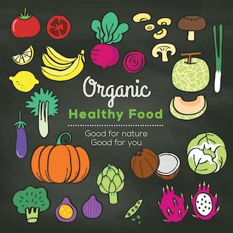 Doodle de alimentos orgánicos en el fondo de la pizarra