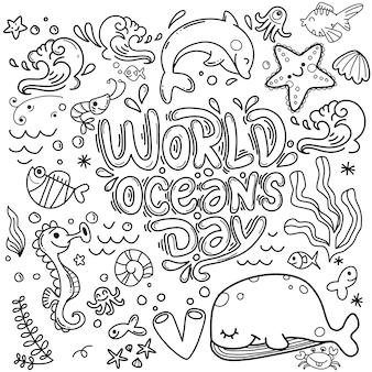 Doodle de animales y plantas del océano fondo del día mundial del océano