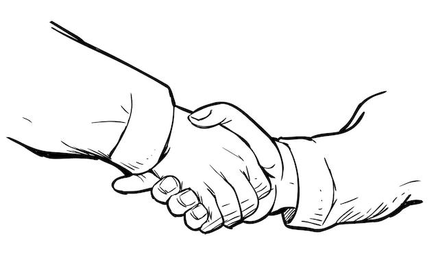 Doodle de apretón de manos