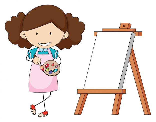 Doodle artista niña pintando