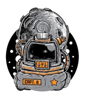 Doodle astronauta ilustración vectorial
