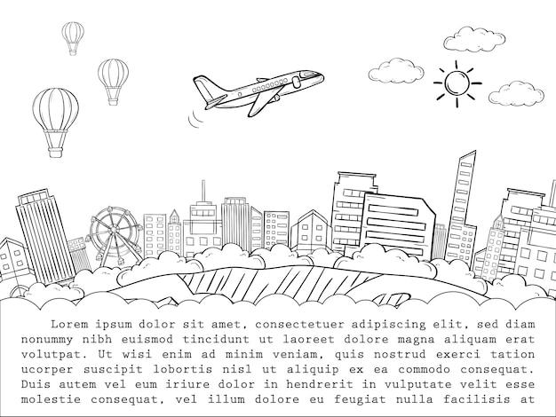 Doodle avión cheque en punto viaje alrededor del concepto del mundo