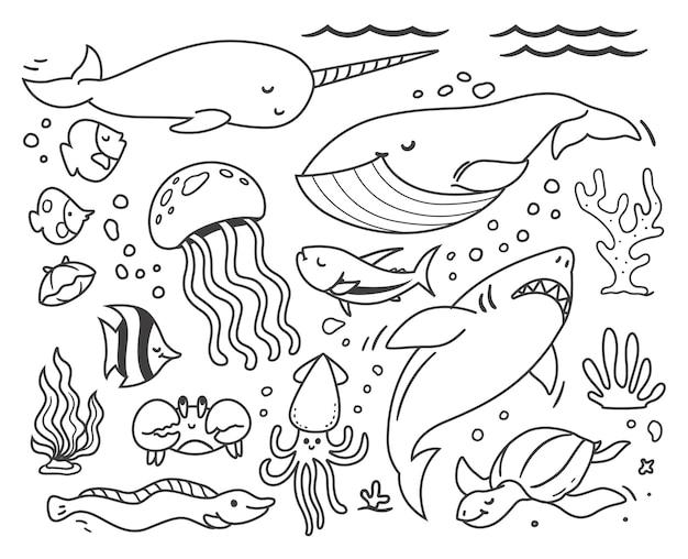Doodle ballenas y animales marinos en el océano.