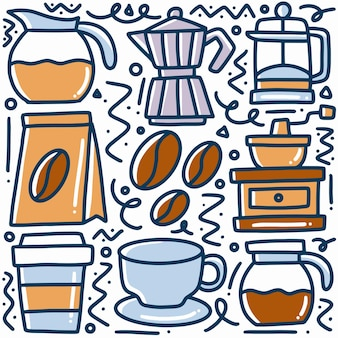 Doodle de bebida de café dibujado a mano con iconos y elementos de diseño