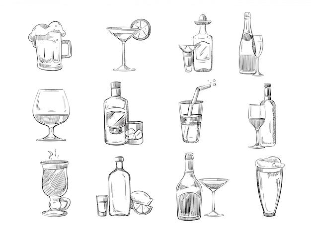 Doodle bocetos de cócteles y bebidas alcohólicas en vaso.
