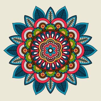 Doodle boho mandala de color floral