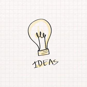 Doodle de bombilla creativa