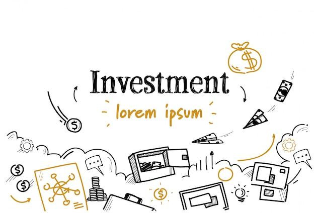 Doodle de bosquejo de inversión de finanzas empresariales aislado