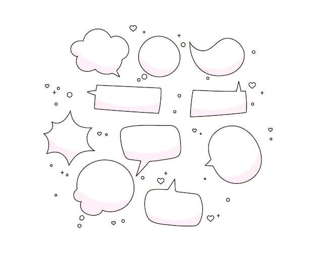 Doodle burbujas de discurso en blanco dibujado a mano ilustración de arte de dibujos animados