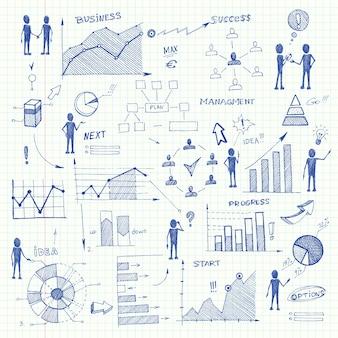 Doodle business charts elementos de infografía