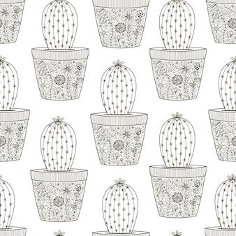 Doodle cactus patten sin costuras