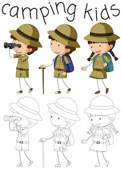 Doodle camping personaje de niños