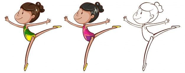 Doodle carácter para chica haciendo gimnasia ilustración