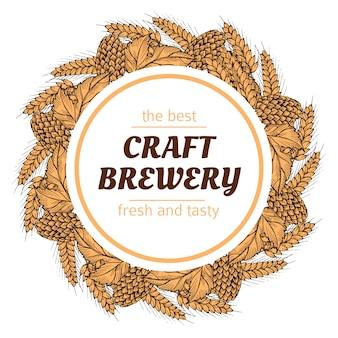 Doodle cervecería corona redonda con lúpulo y trigo