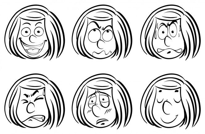 Doodle chica con diferentes expresiones faciales