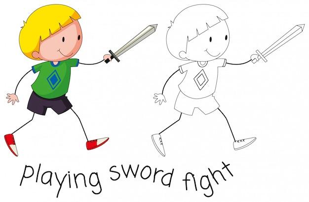 Doodle chico jugando lucha de espadas