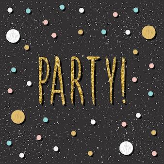 Doodle círculo de fondo de patrón abstracto y texto de fiesta escrito a mano. decoración festiva para tarjeta de navidad de diseño, invitación de fiesta pop moderna, camiseta, cartel de año nuevo, folleto de boda, álbum, álbum de recortes.