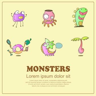 Doodle clásico de dibujos animados lindos monstruos